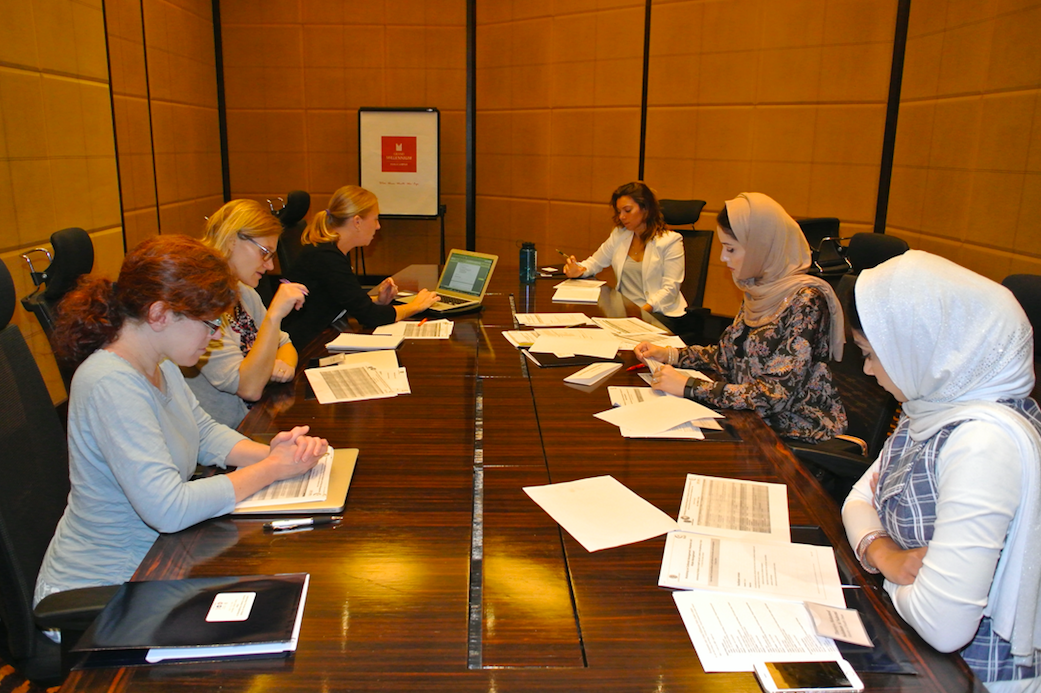 Drs Julie Fischer, Claire Standley, and Erin Sorrel lead a training workshop in Oman