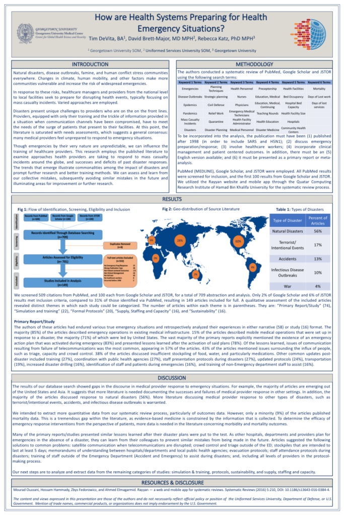 A poster describing how health systems are preparing for health emergencies