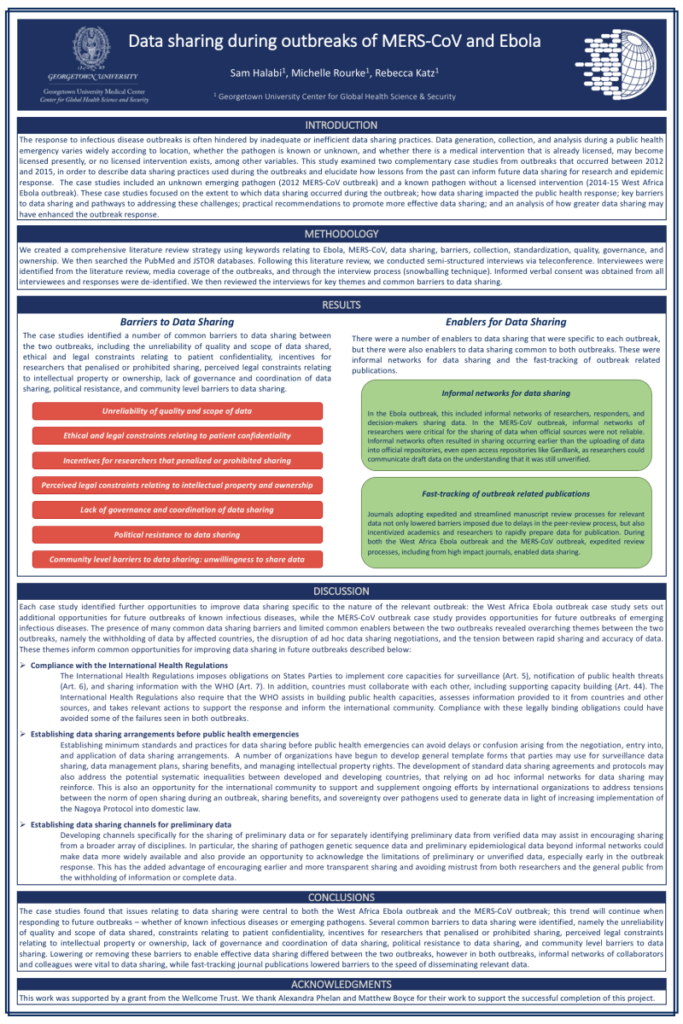 A poster describing data sharing during outbreaks of MERS-CoV and Ebola