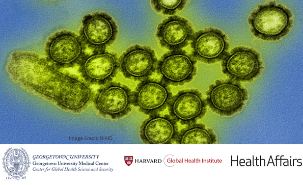 Bright green pathogens in front of a blue background with the logos of Georgetown University, the Harvard Global Health Institute, and Health Affairs below