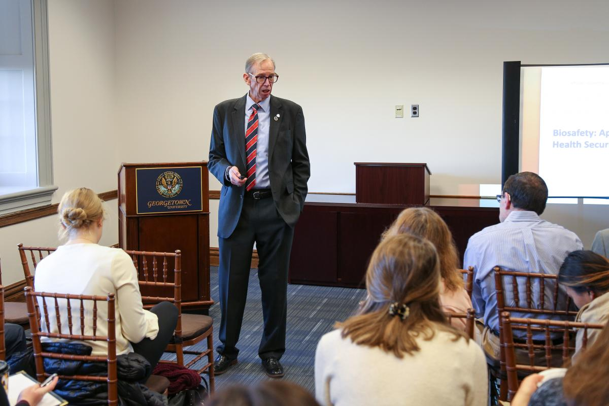 Jim Welch speaks at a seminar at Georgetown University