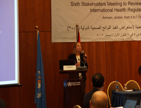 Erin Sorrell presents in Amman, Jordan.