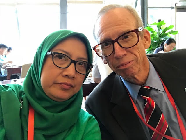 Jim Welch is pictured at the A-PBA Biorisk Conference with Dr. Diah Iskandriati, Biosafety Officer at the Primate Research Center, Bogor Agricultural University in Bogor, Indonesia.