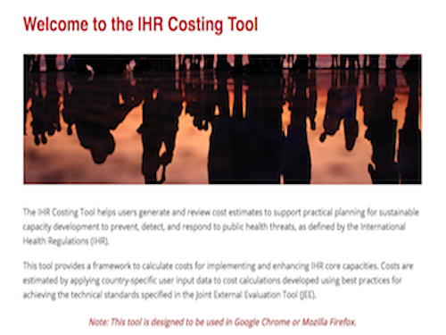 IHR costing tool home screen