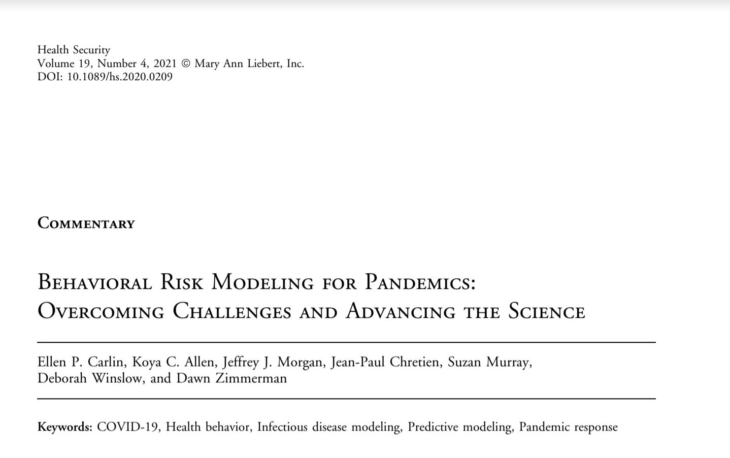 Behavioral Risk Modeling for Pandemics